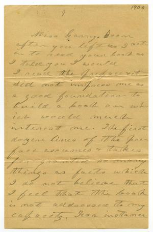 Primary view of object titled '[Letter from C. B. Moore to Carry Goodall, 1900]'.