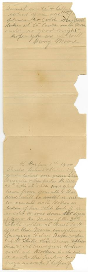 Primary view of object titled '[Letter from Mary Moore to Charles and Linnet Moore and Willie McGee, January 1, 1900]'.