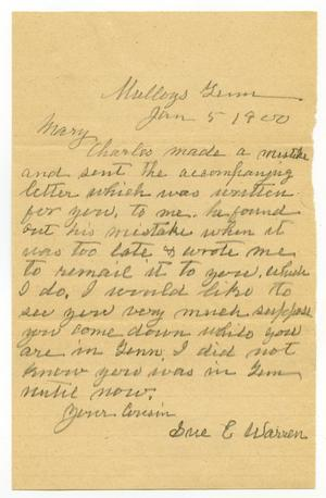 Primary view of object titled '[Letter from Sue Warren to Mary Moore, January 5, 1900]'.