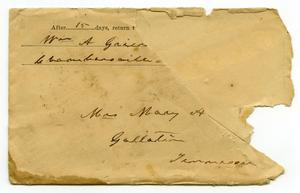 Primary view of object titled '[Envelope for Mary A. Moore, January 9, 1900]'.