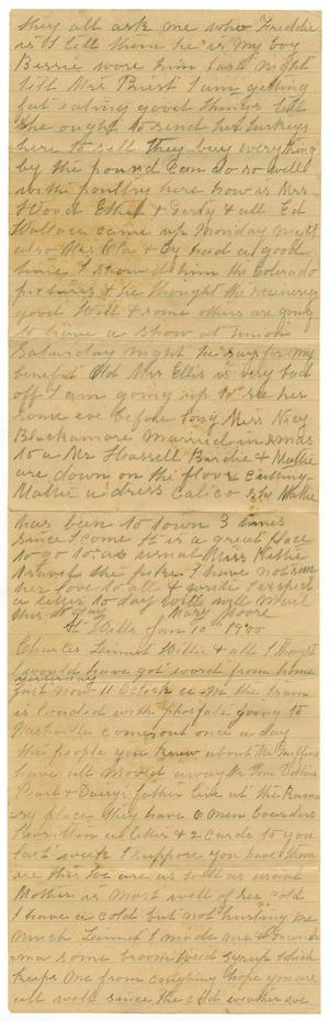 Primary view of object titled '[Letter from Mary Moore to Charles and Linnet Moore and Willie, January 10, 1900]'.
