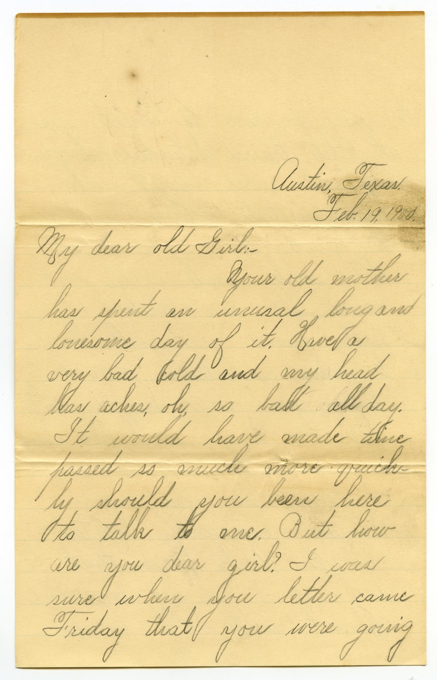 [Letter from Lula Dalton to Linnet Moore, February 19, 1900]                                                                                                      [Sequence #]: 1 of 10