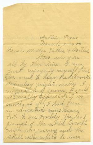 Primary view of object titled '[Letter from Linnet Moore to the Moore family, March 7, 1900]'.