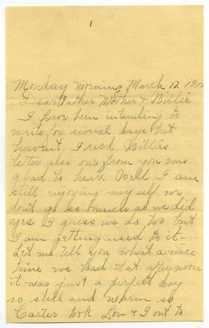Primary view of object titled '[Letter from Linnet Moore to the Moore family, March 12, 1900]'.