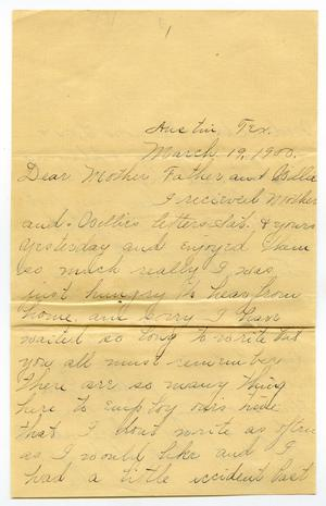 Primary view of object titled '[Letter from Linnet Moore to Charles and Mary Moore, March 19, 1900]'.