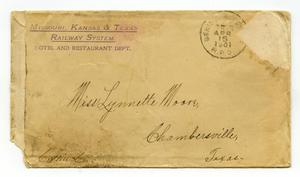 Primary view of object titled '[Envelope addressed to Linnet Moore, April 15, 1901]'.