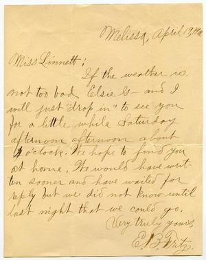 Primary view of object titled '[Letter from E. B. Fritz to Linnet Moore, April 19, 1900]'.