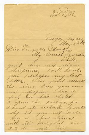 Primary view of object titled '[Letter from Ben Ledbetter to Linnet Moore, May 4, 1900]'.