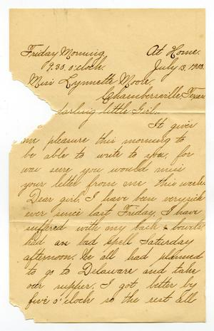 Primary view of object titled '[Letter from Lula Dalton to Linnet Moore, July 13, 1900]'.