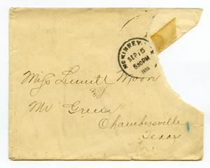 Primary view of object titled '[Envelope for Linnet Moore and Mr. Green, September 15, 1900]'.