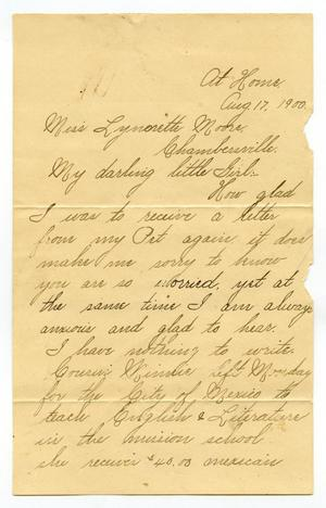 Primary view of object titled '[Letter to Linnet Moore, August 17, 1900]'.