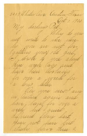 Primary view of object titled '[Letter from Lula Dalton to Linnet Moore, October 7, 1900]'.