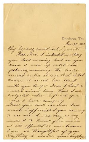 Primary view of object titled '[Letter from Claude D. White ot Linnet Moore, November 30, 1900]'.