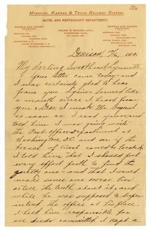 Primary view of object titled '[Letter from from Claude D. White to Linnet Moore, December 16, 1900]'.