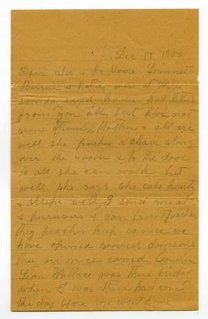 Primary view of object titled '[Letter from Bessie Franklin to Mary Ann Moore and Charles B. Moore, December 17, 1900]'.