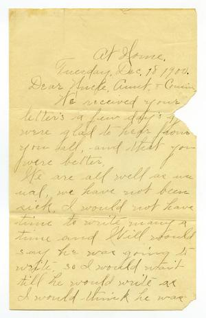 Primary view of object titled '[Letter from Birdie McGee to Mary, Charles, and Linnet Moore, December 18, 1900]'.