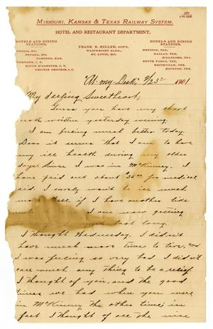 Primary view of object titled '[Letter from Claude White to Linnet Moore, February 23, 1901]'.