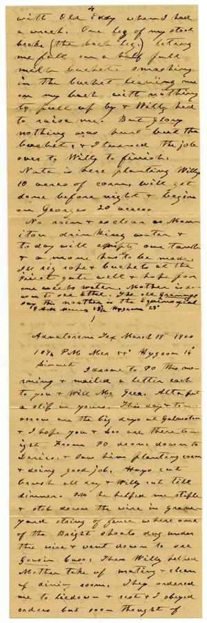 Primary view of object titled '[Letter from Charles B. Moore to Linnet Moore, March 19, 1900]'.
