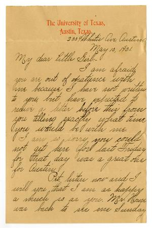 Primary view of object titled '[Letter from Lula Dalton to Linnet Moore White, May 10, 1901]'.