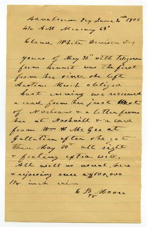 Primary view of object titled '[Letter from C. B. Moore to Claude D. White, June 2, 1901]'.