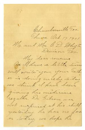 [Letter from Birdie McGee to Mr. and Mrs. C. D. White, October 17, 1901]