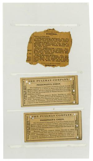 Primary view of object titled '[Clipping and Tickets, October 1901]'.