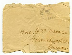 Primary view of object titled '[Envelope addressed to Mrs. C. B. Moore, November 25, 1902]'.