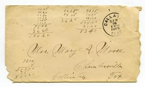 Primary view of object titled '[Envelope addressed to Mary Moore, 1903]'.