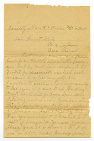 Primary view of object titled '[Letter from Laura Jernigan to Linnet White, February 4, 1907]'.
