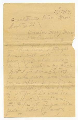 Primary view of object titled '[Letter from Sally Thornhill to Mary Ann Moore, Linnet White and Claude D. White, March 10, 1907]'.