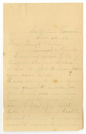 Primary view of object titled '[Letter from Birdie McGee to Mary Ann Moore and Claude and Linnet White, September 22, 1908]'.