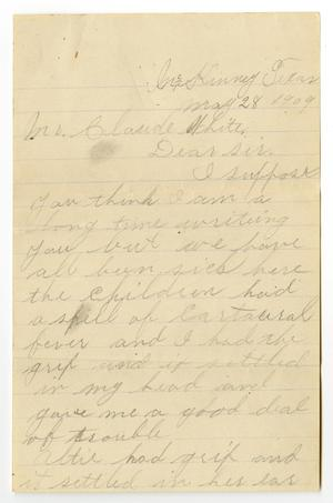 Primary view of object titled '[Letter from J. W. Berry to Claude D. White, May 28, 1909]'.