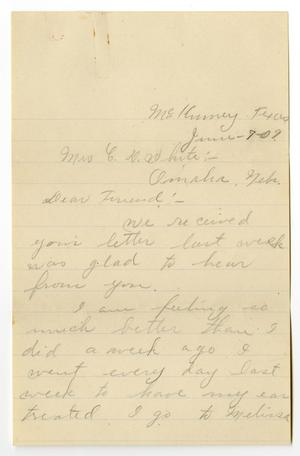 Primary view of object titled '[Letter from Alta Berry to  Linnet Moore White, June 7, 1909]'.