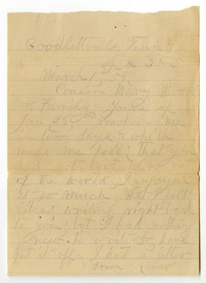 Primary view of object titled '[Letter from Sally Thornhill to Mary Ann Moore, March 1, 1909]'.