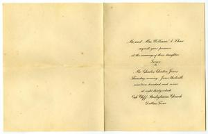 Primary view of object titled '[Invitation from Mr. and Mrs. William A. Shaw for Mr. and Mrs. Claude White, May 26, 1909]'.