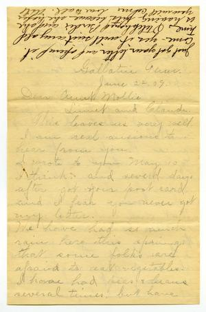 Primary view of object titled '[Letter from Birdie McKinley to Mary Moore, Claude and Linnet White, June 22, 1909]'.