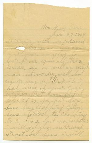 Primary view of object titled '[Letter to Mrs. White, June 27, 1909]'.