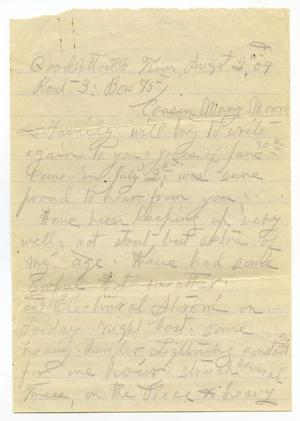 Primary view of object titled '[Letter from Sally Thornhill to Mary Moore, August 2, 1909]'.