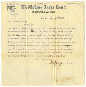 Primary view of object titled '[Letter from the Melissa State Bank to Claude D. White, August 16, 1909]'.