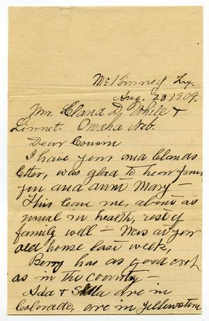 Primary view of object titled '[Letter from from T. B. Wilson to Linnet and Claude White, August 23, 1909]'.
