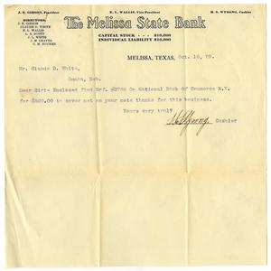 Primary view of object titled '[Letter from the Melissa State Bank to Claude D. White, October 16, 1909]'.