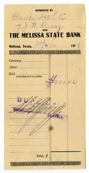 Primary view of object titled '[Deposit receipt for Claude D. White, October 27, 1909]'.