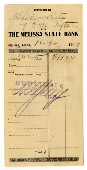 Primary view of object titled '[Deposit receipt for Claude D. White, November 3, 1909]'.