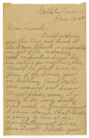 Primary view of object titled '[Letter from W. J. McKinley to Claude D. White, December 12, 1909]'.