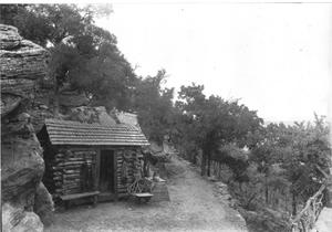 Primary view of object titled '[A Cabin on  the East Mountain Stairs]'.