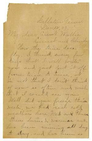 Primary view of object titled '[Letter from Birdie McGee McKinley to Mary Moore, Claude White, and Linnet Moore White, December 12, 1909]'.