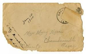 [Envelope for Mary Moore, January 10, 1910]