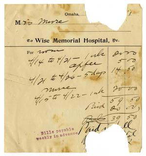 Primary view of object titled '[Bill from Wise Memorial Hospital to Claude D. White]'.