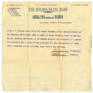 Primary view of object titled '[Letter from Melissa State Bank to Claude D. White, April 1, 1910]'.