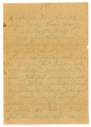 Primary view of object titled '[Letter from Sally Thornhill to Mary Moore, July 8, 1910]'.